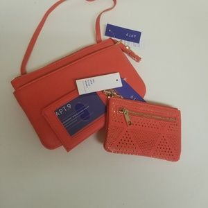 """Cross Body wallet & Coin pouch with Id in """"flame"""""""